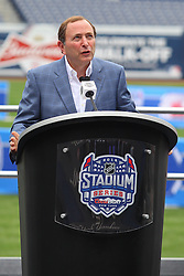 Aug 8, 2013; New York, NY, USA; NHL commissioner Gary Bettman speaks at a press conference at Yankee Stadium. Two outdoor regular-season NHL games will be played at Yankee Stadium during the 2013-14 season as part of the 2014 Stadium Series.