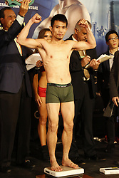 NEW YORK - MARCH 17  Roman Gonzalez (46-0-0, 38 KOs) of Nicaragua and Srisaket Sor Rungvisai (41-4-1, 38 KOs) of Thailand, stopped the weight at 114.6 lbs and 114 lbs respectively at the official weigh in for their bout saturday at Madison Square Garden on March 18, 2017 in NEW YORK, NY USA. 2017 March 17.  Byline, credit, TV usage, web usage or link back must read SILVEXPHOTO.COM. Failure to byline correctly will incur double the agreed fee. Tel: +1 714 504 6870.