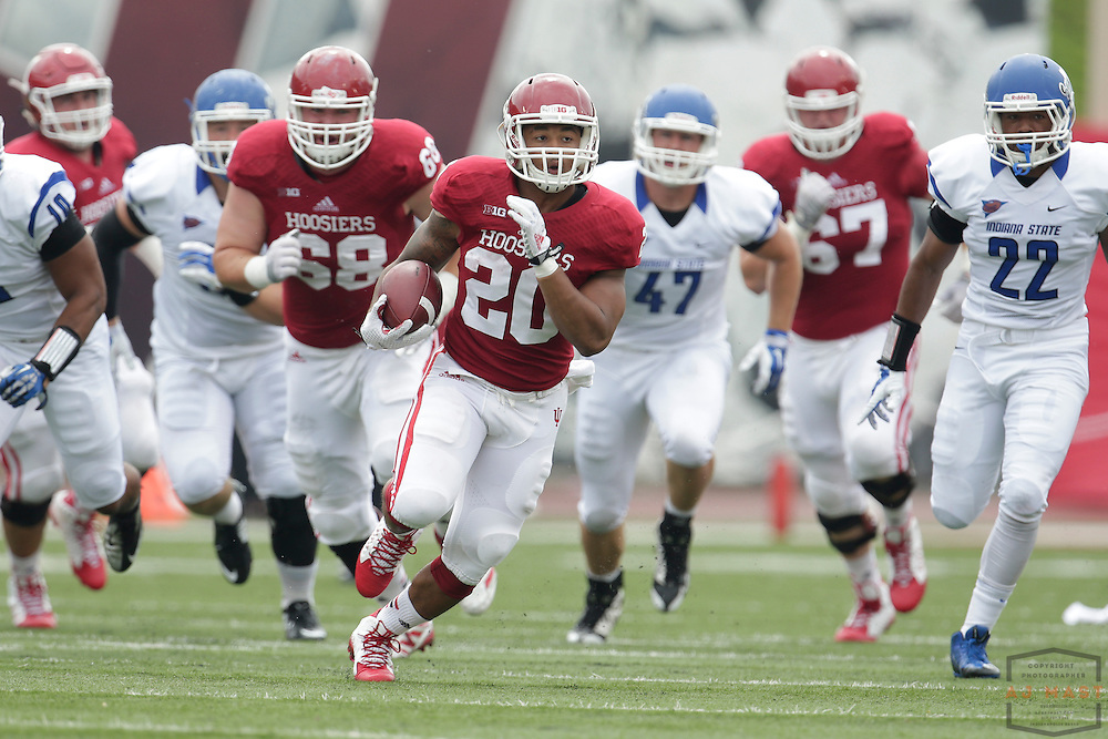 Indiana Hoosiers running back D'Angelo Roberts (20) as the Indiana Hoosiers played the Indiana State Sycamores in a college football game in Bloomington, IN.