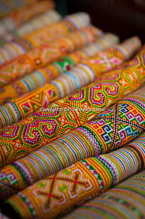 Colorful souvenirs in the markets of Sapa, Vietnam.