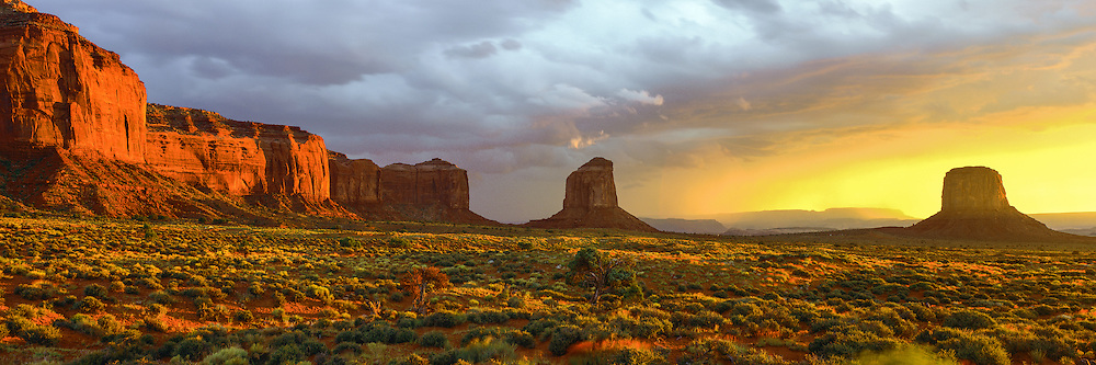 Summer storm at sunset in Monument Valley on the Navajo Indian Reservation in northern Arizona