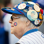 CHICAGO, IL - OCTOBER 30, 2016: A Chicago Cubs fan stands outside Wrigley Field before the start of Game 5 of the 2016 World Series between the Cleveland Indians and the Chicago Cubs at Wrigley Field on October 30, 2016 in Chicago, Illinois. (Photo by Jean Fruth)