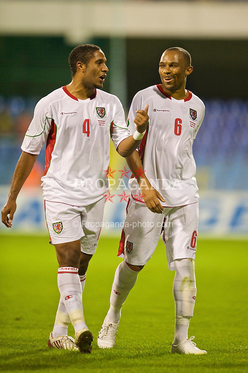 PODGORICA, MONTENEGRO - Wednesday, August 12, 2009: Wales' Ashley Williams and Daniel Gabbidon during an international friendly match at the Gradski Stadion. (Photo by David Rawcliffe/Propaganda)