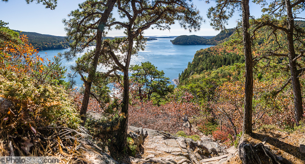 Acadia Mountain Trail features boulder gardens sprouted with gnarly trees twisted by harsh weather, appearing like a Japanese garden. The trail tops out with good views of Somes Sound and peak fall colors typically in the second week of October, in Acadia National Park, near Bar Harbor, on Mount Desert Island, Maine, USA. Hike granite peaks and enjoy Atlantic coastal scenery. Originally created as Lafayette National Park in 1919, the oldest National Park east of the Mississippi River, it was renamed Acadia in 1929. During the last glacial maximum 21,000 years ago, glaciers measuring up to 9,000 feet thick cut into granite ridges, sculpting the fjord-like Somes Sound. The panorama was stitched from 6 overlapping photos.