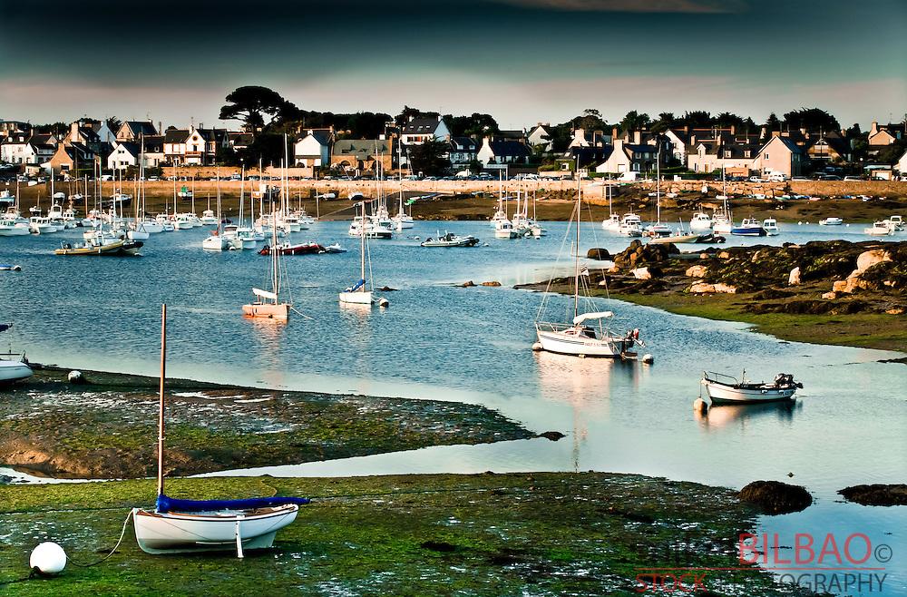 Coastal landscape.<br /> Ploumanach. Perros-Guirec. C&ocirc;tes-d'Armor, Brittany, France.