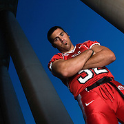 THIS IS MY PERSONAL FAVORITE---Eric Weddle U of U defensive back and linebacker portrait shoot on the U of U campus Presidents Circle in Salt Lake City, Utah  Tuesday July 25, 2006.  August Miller/Deseret Morning News