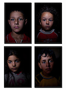 Jordan: Fadi, 10 years old, Rebal 9 years old, Aula 5 years old, Hudifa 5 years old..Syrian refugee children at Za'atri refugee camp in Jordan......©JTanner/UNHCR/Dec 2012