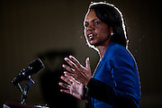 Condoleeza Rice speaks at a campaign rally for Republican vice presidential candidate Rep. Paul Ryan at Baldwin Wallace University in Berea, Ohio, October 17, 2012.