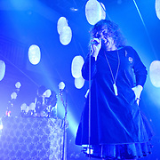 WASHINGTON, DC - January 14th, 2013 - Corin Roddick and Megan James of Purity Ring perform at the 9:30 Club in Washington, D.C.  The duo released their debut album, Shrines , in July of 2012. (Photo by Kyle Gustafson/For The Washington Post)