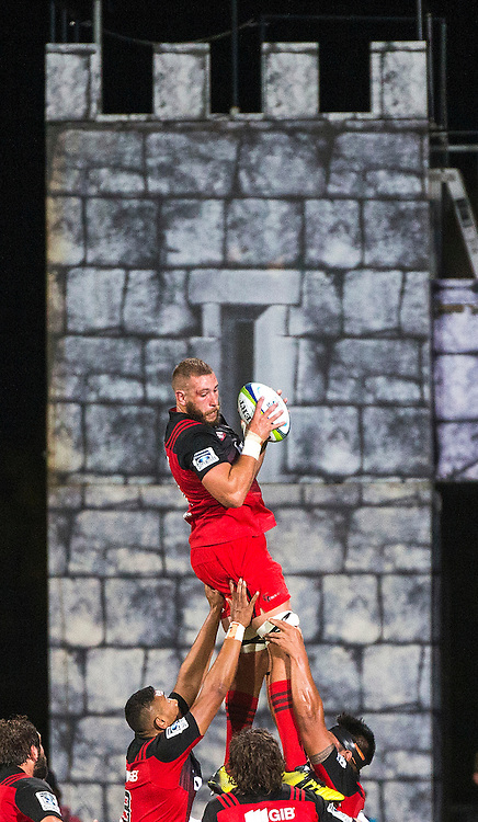 Luke Romano of the Crusaders wins a lineout during the 2016 Super Rugby game between BNZ Crusaders v Southern Kings held at AMI Stadium, Christchurch. 19 March 2016. Copyright Photo: Joseph Johnson / www.photosport.nz