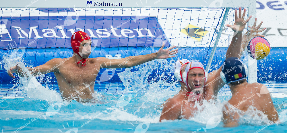 1 STOENESCU Dragos C. (GK) ROU<br /> 6 BUSILA Dan Andrei ROU<br /> Spain (White) Vs Romania (Blue) Men<br /> LEN European Water Polo Championships 2014 - July 14-27<br /> Alfred Hajos -Tamas Szechy Swimming Complex<br /> Margitsziget - Margaret Island<br /> Day13 - July 26<br /> Photo Giorgio Scala/Inside/Deepbluemedia