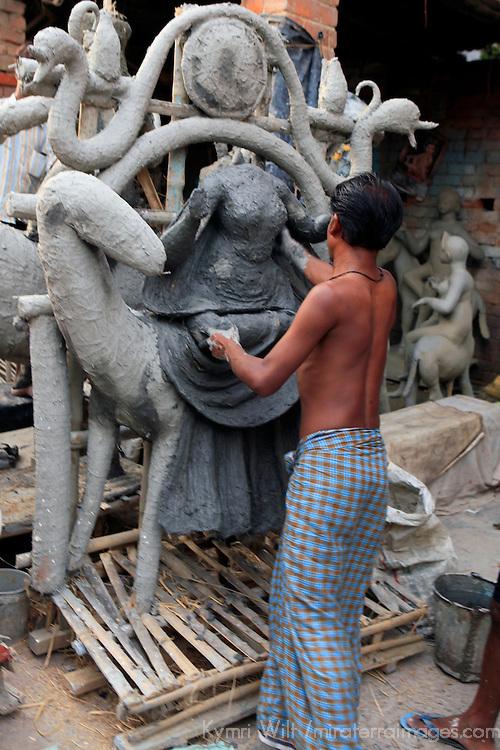 Asia, India, Calcutta. Scene from the potter's village of Kumartuli in Calcutta.