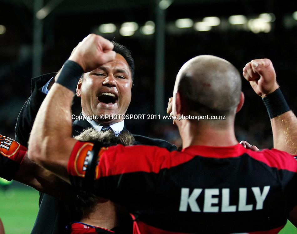 Canterbury coach Tabai Matson celebrates with Willi Heinz. Auckland v Canterbury. ITM CUP Rugby Final, AMI Stadium, Christchruch. Saturday 27 October 2012. Joseph Johnson/photosport.co.nz