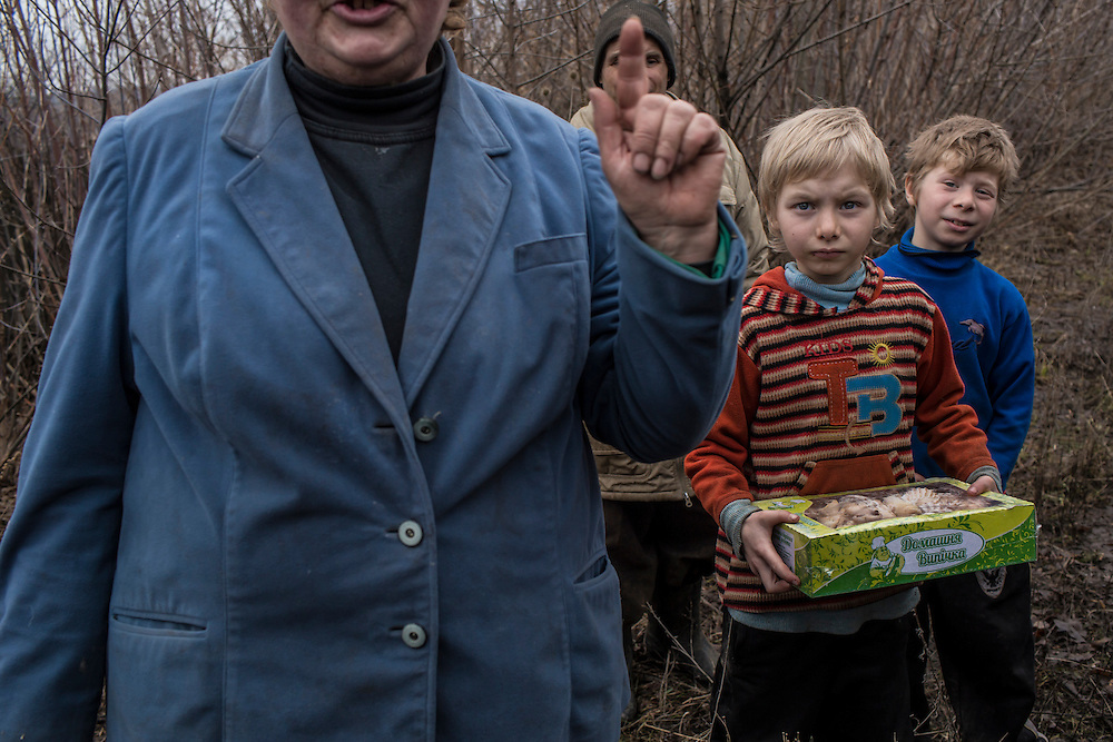 A family pointedly refuses to allow their children, including Andrei, age 7, and Nikolai, age 9, to be evacuated from the dangers of life on the Ukrainian-controlled front line on Saturday, February 13, 2016 in Zaitseve, Ukraine. The town itself is half controlled by Ukrainian forces and half by pro-Russian rebels, leading to regular fighting.