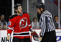 Dec 10, 2008; Newark, NJ, USA; New Jersey Devils right wing David Clarkson (23) argues a call during the first period at the Prudential Center.