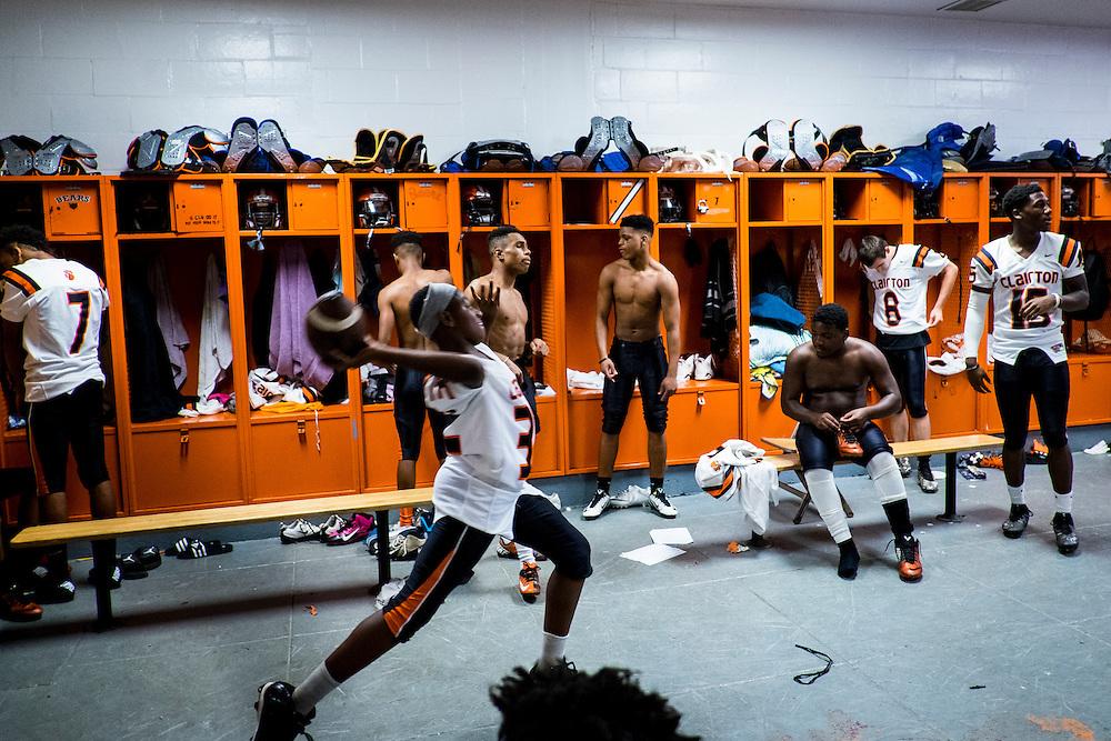 Football practice at Clairton High School
