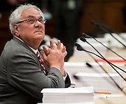 Jun 10, 2010 - Washington, District of Columbia, U.S., - Representative Barney Frank waits for fellow lawmakers to arrive before making his comments on the Wall Street Reform and Consumer Protection Act during a House-Senate Conference committee on Capitol Hill Thursday..(Credit Image: © Pete Marovich/ZUMA Press)