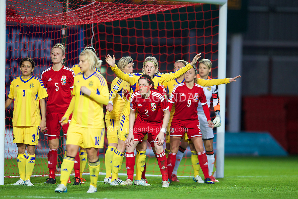 LLANELLI, WALES - Wednesday, April 9, 2014: Wales' Sophie Ingle and Nicola Cousins in action against Ukraine during the FIFA Women's World Cup Canada 2015 Qualifying Group 6 match at Parc-y-Scarlets. (Pic by David Rawcliffe/Propaganda)