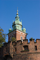 vertical shot of wawel cathedral and castle walls in bright sunshine and no clouds. the tower stretches upwards with the castle walls appearing below
