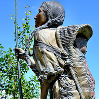 Arduous Journey Sacajawea and Baby in Papoose Statue in Great Falls, Montana<br />