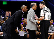 SOUTH BEND, IN - DECEMBER 21: Head coach Joe Mihalich of the Niagara Purple Eagles confers with officials during action against the Notre Dame Fighting Irish at Purcel Pavilion on December 21, 2012 in South Bend, Indiana. (Photo by Michael Hickey/Getty Images) *** Local Caption *** Joe Mihalich
