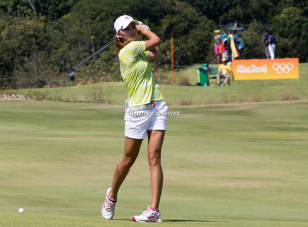 17.08.2016. Rio de Janeiro, Brazil. Olympic Games, womens golf competition 2016.  Klara Spilkova of Czech Republic  during the 1st round at the Rio Olympics Golf 2016 held at the Olympic Golf Course.
