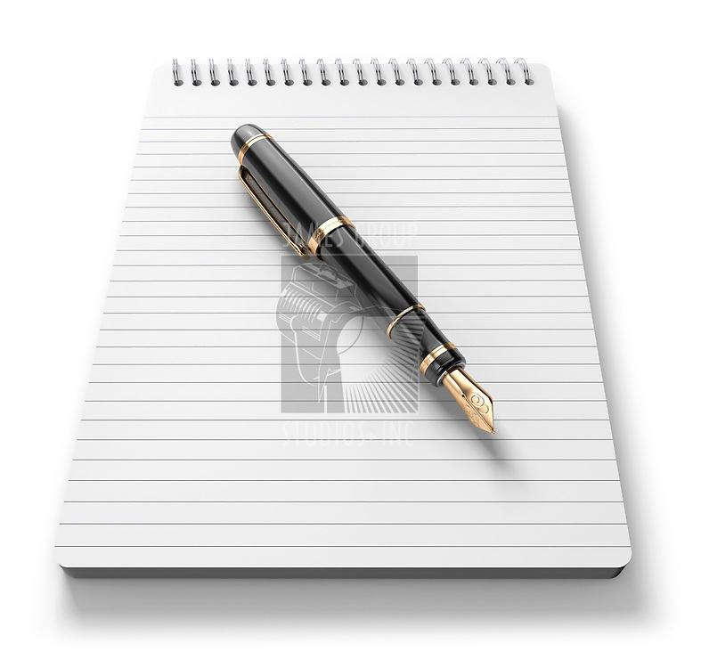 A note pad and old fashoned fountain pen on a white Background