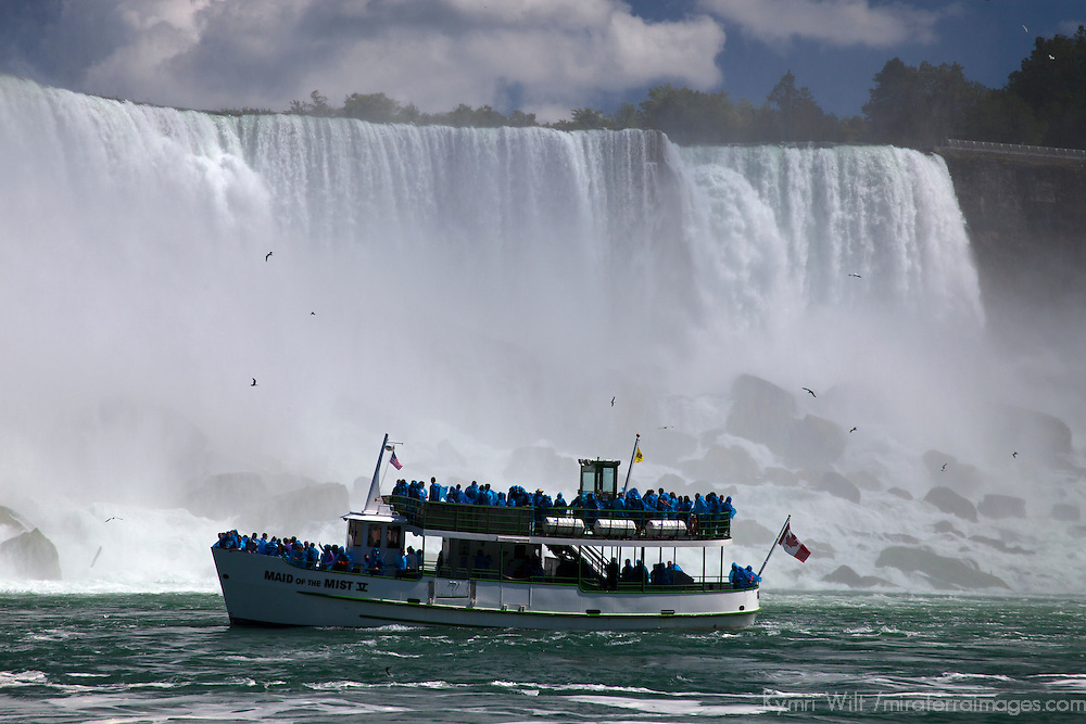 Canada, Ontario, Niagara Falls. Maid of the Mist cruise to the base of the Falls.