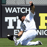 CHICAGO - MAY 25:  Melky Cabrera #53 of the Chicago White Sox makes a sliding catch on a ball hit by Jose Ramirez #11 of the Cleveland Indians in the seventh inning on May 25, 2016 at U.S. Cellular Field in Chicago, Illinois.  The Indians defeated the White Sox 4-3.  (Photo by Ron Vesely)    Subject:  Melky Cabrera; Jose Ramirez