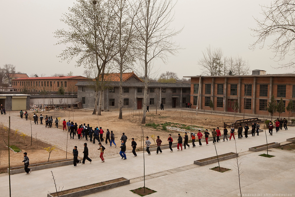 Early morning warming up for students of the Taijiquan school in Chenjiagou village. Most students of the school live at the dormitories and rooms of the school untill they complete their studies.