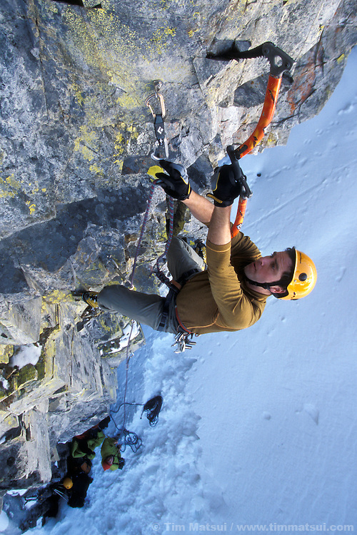 Roger Strong on his project Ghost Dog, a tentative M11, at the Rap Wall near Snoqualmie Pass, Washington.