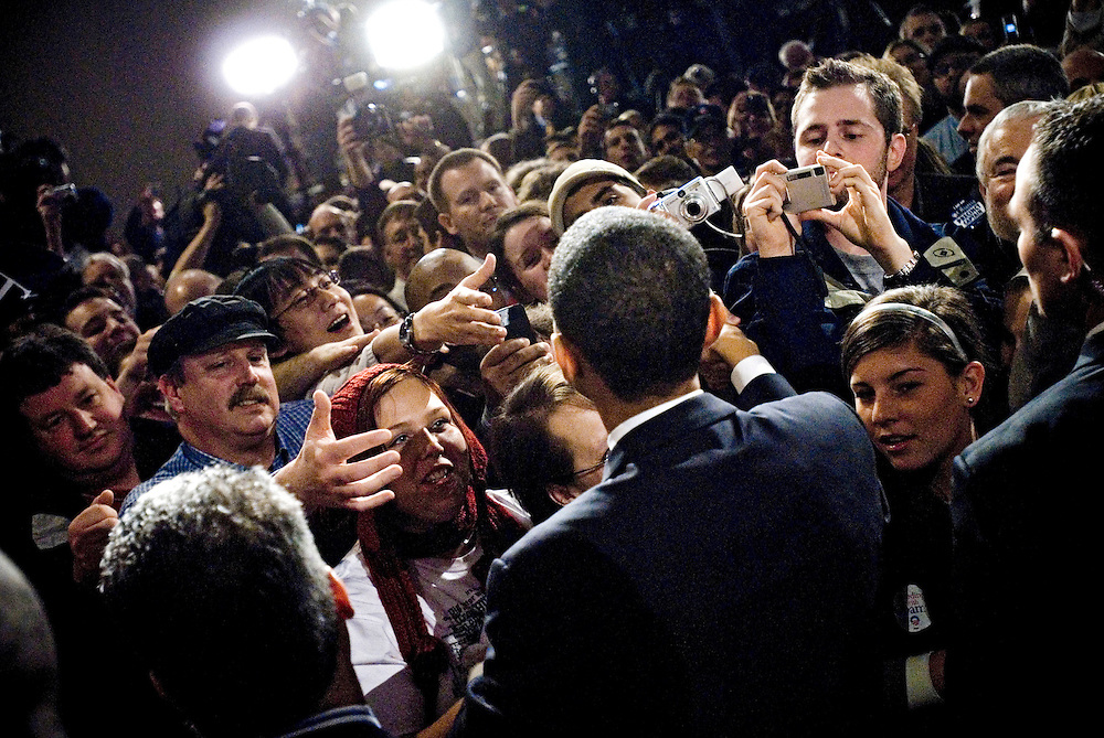 Senator Barack Obama greets supporters after his victory in the Iowa caucuses..Photographer Chris Maluszynski /MOMENT