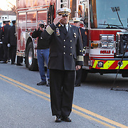 Wilmington Fire Chief Anthony S. Goode as the body of Wilmington Senior Firefighter is lifted onto engine number five Sat, Dec. 11, 2016, at The Chase Center On The River Front in Wilmington, Delaware. <br /> <br /> Wilmington Senior Firefighter Ardythe Hope died Dec. 1 from injuries suffered battling a fire on September 24th that was ruled arson.  <br /> <br /> She'd been in the hospital ever since with burns over 70 percent of her body.