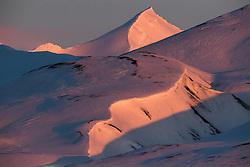 Svalbard mountains in winter, Spitsbergen, Svalbard, Norway