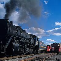 USA. Maryland, Steam train of Western Maryland Scenic Railroad in Cumberland