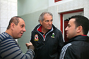 Manuel Jose, (c) the Portuguese Coach of the Egyptian football team Al-Ahly speaks with club staff during his February 17, 2012 return to the Ahly club stadium in Cairo, Egypt. Jose returned to Egypt Feb 16 to resume his job of coach of Al-Ahly in the wake of post-football match violence February 2nd, 2012 that killed 74 and injured hundreds more in the Port Said, Egypt stadium.  (Photo by Scott Nelson)