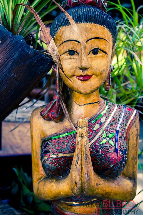Wood statue. Phi Phi Don island. Krabi province, Andaman Sea, Thailand.