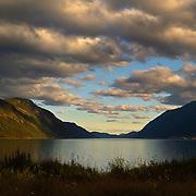 Sunset over Tinnsjøen (the lake Tinn), Telemark, Norway.