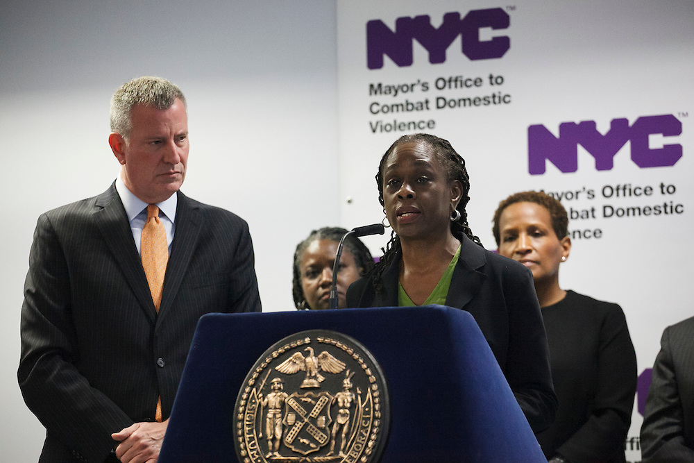 Mayor Bill de Blasio watches as First Lady Chirlane McCray speaks at the groundbreaking of the Staten Island Family Justice Center, 126 Stuyvesant Place, Staten Island, NY on Monday, Oct. 5, 2015.<br /> <br /> Andrew Hinderaker for The Wall Street Journal<br /> NYSTANDALONE