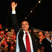 Jose Luis Rodriguez Zapatero, Spain's prime minister, salutes during his speech at the Bilbao Exhibition Centre on Wednesday, Feb. 27, 2008 in Barakaldo, Spain. Zapatero is running against Mariano Rajoy, Spain's People's Party leader in the upcoming March 9th election.