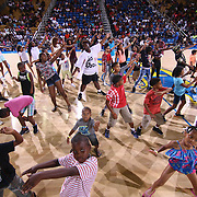 A group kids take part in a dance routine during The 2015 Duffy's Hope Celebrity Basketball Game Saturday, August 01, 2015, at The Bob Carpenter Sports Convocation Center, in Newark, DEL.    <br /> <br /> Proceeds will benefit The Non-Profit Organization Duffy's Hope Youth Programming.