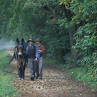 USA, Maryland, (MR) Horse-drawn C&O Canal Clipper sails through locks near Great Falls along Potomac River