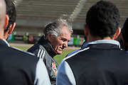 Manuel Jose, (c) the Portuguese Coach of the Egyptian football team Al-Ahly conducts a training session with his squad Feb 20, 2012 at the Ahly club stadium in Cairo, Egypt. Jose returned to Egypt Feb 16 to resume his job of coach of Al-Ahly in the wake of post-football match violence February 2nd, 2012 that killed 74 and injured hundreds more in the Port Said, Egypt stadium.  (Photo by Scott Nelson)