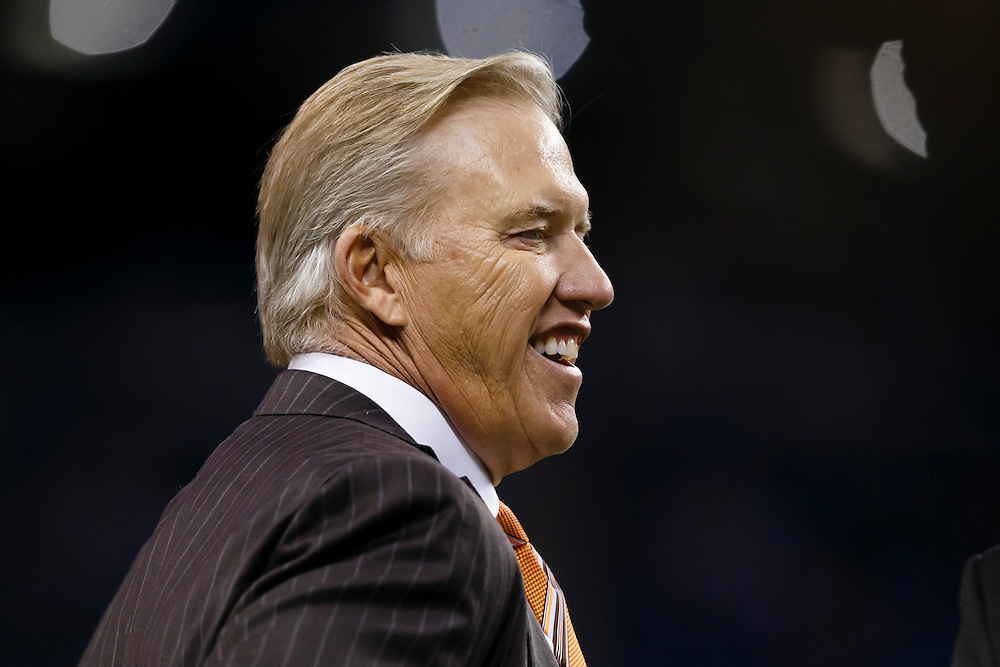 General Manager and Executive Vice President of Football Operations for the Denver Broncos John Elway prior to an NFL football game against the Detroit Lions at Ford Field in Detroit, Sunday, Sept. 27, 2015. (AP Photo/Rick Osentoski)