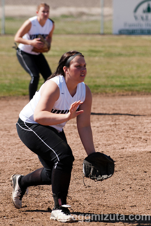 Vale third baseman Maddie Speelman during the Vale - Parma game on March 29, 2013 at Vale High School in Vale, Oregon. Vale won the game 14-8 to improve their season record to 8-1.