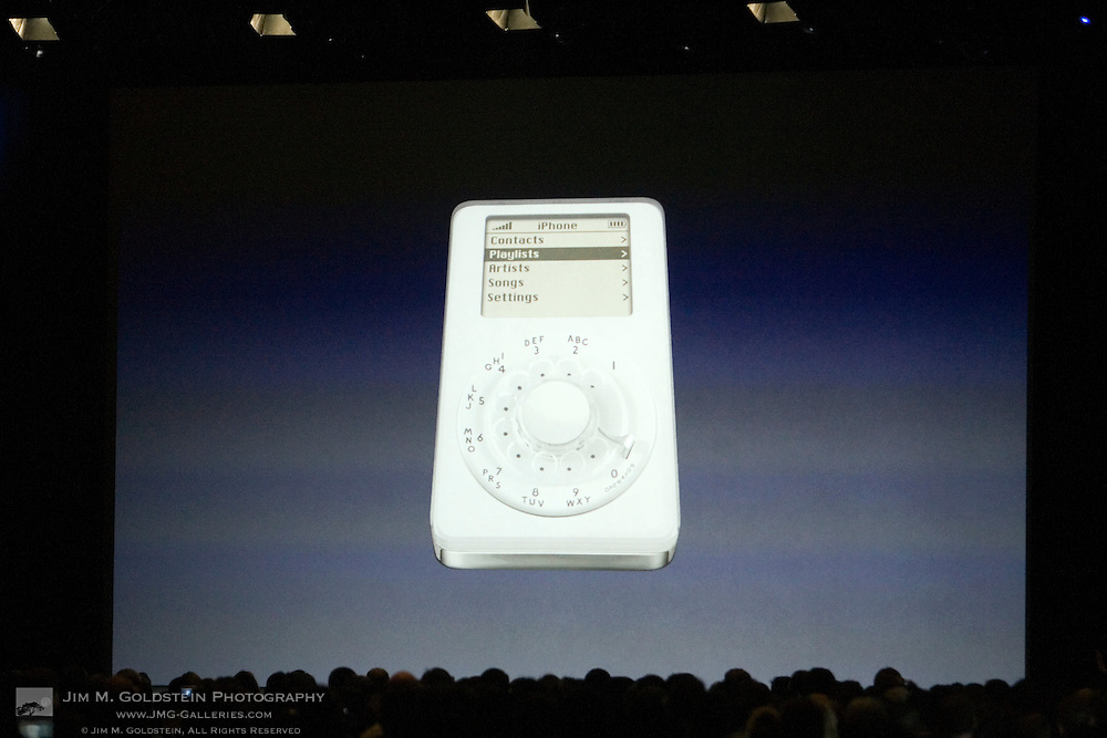 Steve Jobs demonstrates the newly announced, jokingly, the rotary-dial Iphone during his Keynote speech on Tuesday January 9, 2007