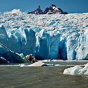 The blue ice of Glacier Grey, in Torres del Paine, Chile.