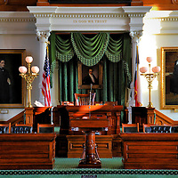 Texas State Capitol Senate Chamber in Austin, Texas<br /> The Senate Chamber in the Texas State Capitol has the original furniture and chandeliers from 1888. You can also admire 15 paintings of historical Texans, including Lyndon Johnson. One of the oldest and most significant portraits is of Stephen F. Austin. He was the &ldquo;Father of Texas&rdquo; and the namesake for the city of Austin. The artwork hangs behind the Lieutenant Governor&rsquo;s desk.