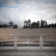 The Kallimarmaro stadium occupies the exact site of the original Panathenaic Stadium which was built in 330 BC. It was restored in 1895 for the first modern Olympic Games on April 5th, 1896. Image © Angelos Giotopoulos/Falcon Photo Agency