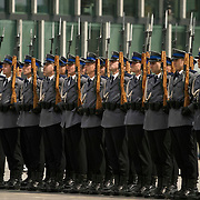 Police troops during ceremony and in action Warsaw Poland